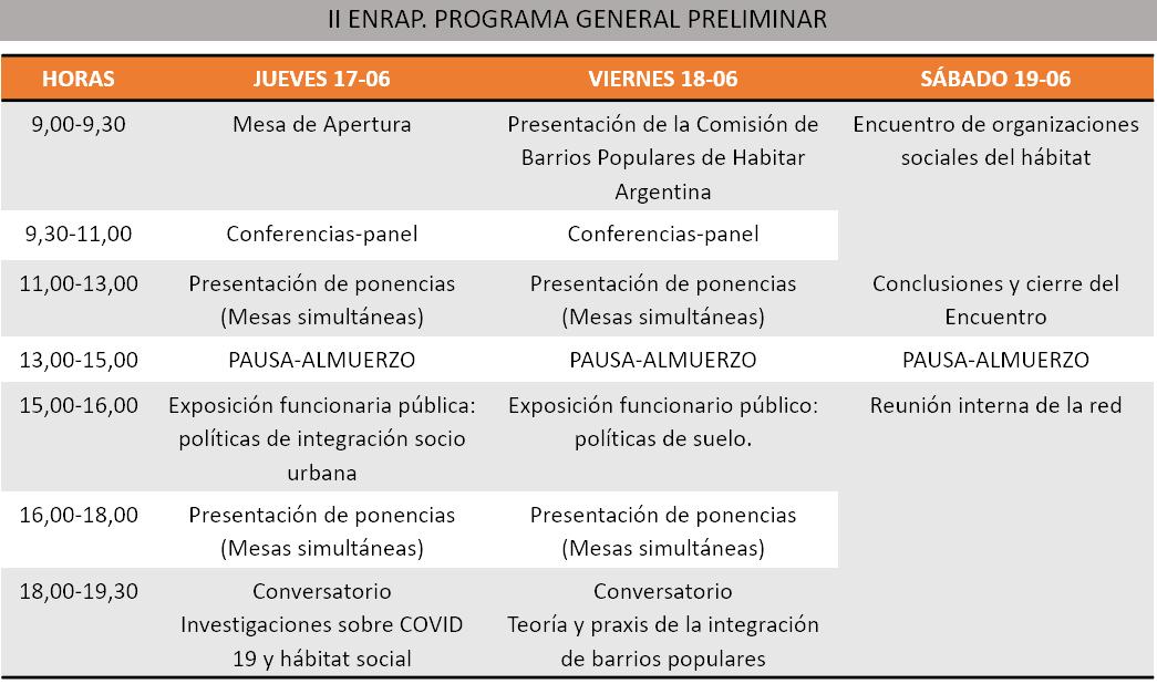 II ENRAP. PROGRAMA GENERAL PRELIMINAR